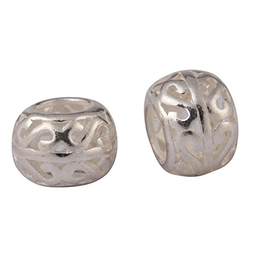 - 10pcs x Sterling Silver Double-S Pattern 8mm Silver Metal Beads (Large Hole ~ 5mm) for Jewelry Craft Making SS60