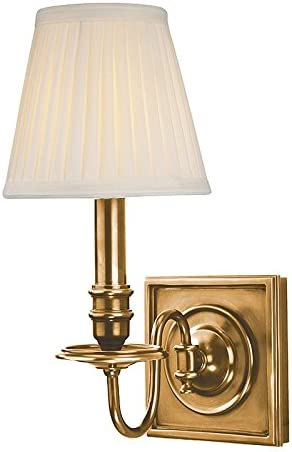 Hudson Valley Lighting 201-AGB Sheldrake – One Light Wall Sconce, Aged Brass Finish with Off-White Faux Silk