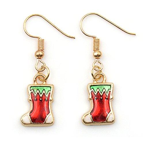 CosCosX 1 Pair Christmas Drop Dangle Earrings Jewelry Set for Thanksgiving,Colorful Christmas Style Santa Pattern Earrings for Women Girls (Pattern Earring Santa)