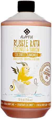 Alaffia - Everyday Coconut Bubble Bath, Gentle for Babies and Up, Supports Soft Skin and Relaxation with Yarrow, Chamomile, and Coconut Oil, Fair Trade, Naturally Foaming, Coconut Chamomile, 32 Ounces