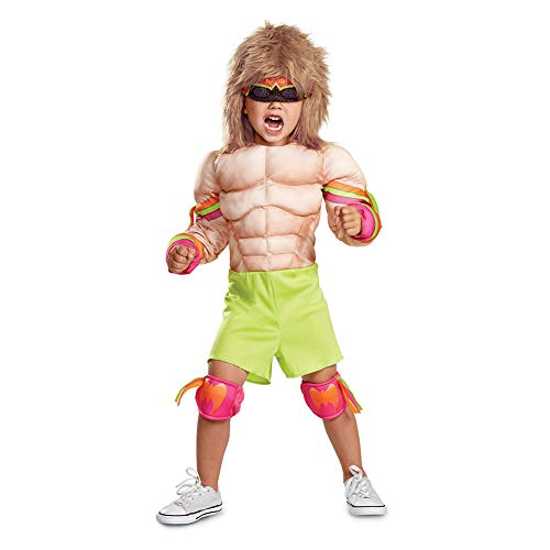 Disguise Ultimate Warrior Toddler Muscle Child Costume, Multi Color, Medium/(3T-4T) ()