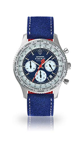 DETOMASO Firenze Racing Mens Watch Chronograph Analogue Quartz Blue Leather Strap Blue dial DT1069-A-808