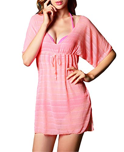 - Costyleen Womens Summer Sexy See-Through Bikini Cover up Sun Protective Beach Dress Pink XL