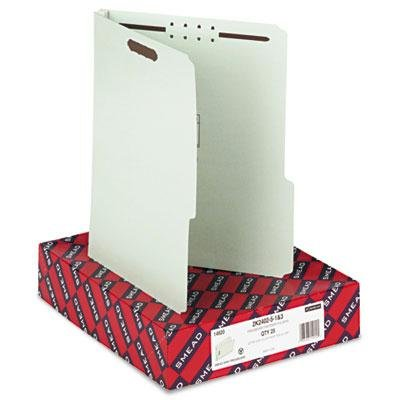 Smead - Two Inch Expansion Fastener Folder 2/5 Tab Letter Gray Green 25/Box