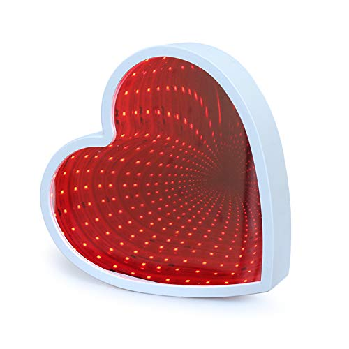 Heart Neon Lights GUOCHENG Tunnel Lamp 3D Infinity Mirror Light Decor Light LED Night Light Wall Table Lamp Battery Operated Decoration for Bedroom, Party, Christmas, Kids Birthday Gift (Red)