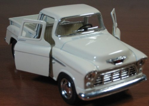 1/32 Scale 1955 Chevy Stepside Pick-up Truck Metal Diecast Model Collection Pull Back Action Kinsmart White ()