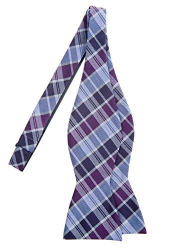 (Retreez Modern Tartan Check Styles Woven Microfiber Self Tie Bow Tie - Purple)