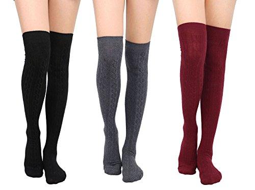 Womens Winter Kabel stricken über Knee High Tigh hohe Socken 1-3 Paar 3 Schwarz + Dunkelgrau + Burgund