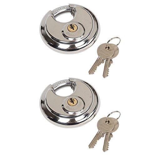 Highmoor Stainless Steel Round Padlock with Shielded Shackle, Heavy Duty Disc Pad Lock for Storage Units 2-3/4'' 70mm (2) by Highmoor