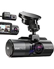 3 Channel 4K Dash Cam for Cars, 4K+1080P Front and Rear, 4K+1080P Front and Inside, Vantrue N4 Front Rear Cabin 1440P+1080P+1080P Three Way Dash Cam, Dashboard Camera with Infrared Night Vision, 24 Hours Parking Mode, Super Capacitor, Motion Detection for Lyft Rideshare Drivers, No WIFI, Support 256GB Max