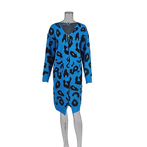 Mujeres Estampadas Manga Otoño Azul Leopardo De Mujer Delanteros Punto Jersey Larga Casuales Chaquetas Chaqueta Moda Bolsillos Invierno Caliente Largo PcqvqTB