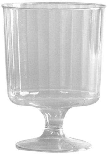 Classicware Rigid Plastic 1-Piece Pedestal Wine Glass, 8 Ounce, Clear(240-Count) by WNA