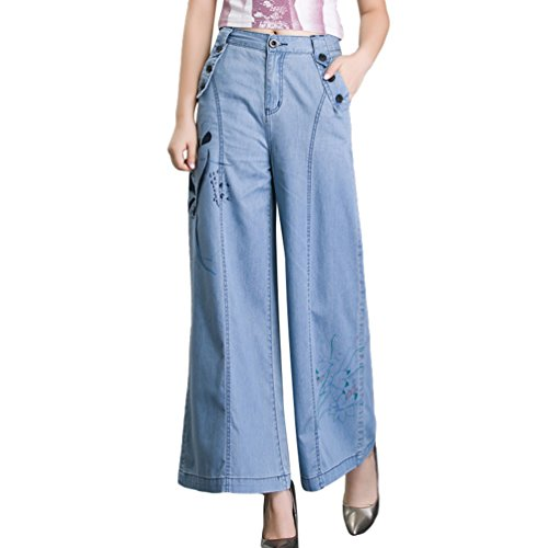 Tookang Femme Pantalons en Denim Evase Jambe Large Impression Jean avec No Stretch Bootcut Mince Casual Confortable Grande Taille Bleu