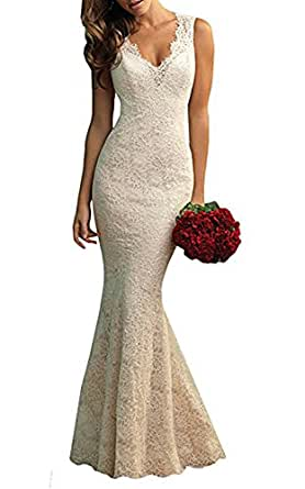 Wedding Dress Sweep Tail Mermaid Lace Back Zipper Closure Bridal Gowns