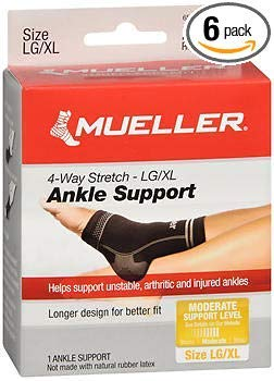 Mueller Sport Care 4-Way Stretch Ankle Support Large/X-Large - 1 ea, Pack of 6