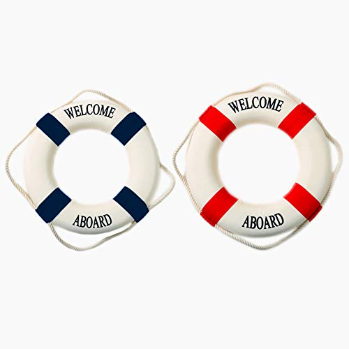 OJYUDD Cloth Life Ring, Wall Decoration Mediterranean Style Nautical Decor, Wall Art, Wall and Home Decor, Party Supplies Two PCS 5.5