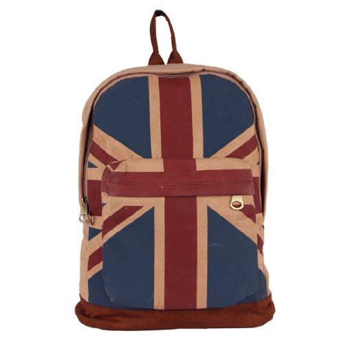 UK Flag Union Jack Style Backpack Canvas School Bag Sachel Shoulder Bag