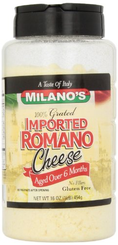 Milano's 100% Imported Romano Cheese Jar,16 Ounce