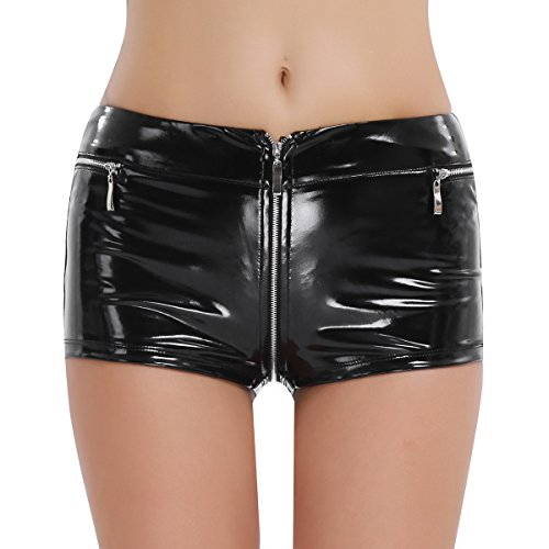CHICTRY Womens Sexy Welook Leather Zippered Open Crotch Boxer Shorts Black Medium