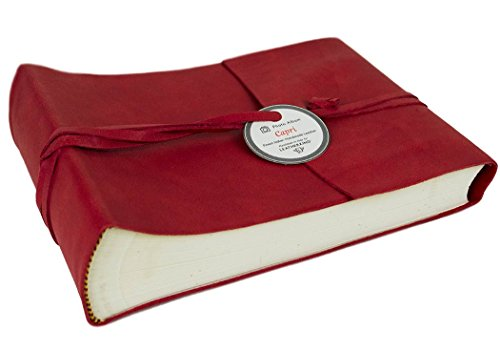 Capri Small Firebrick Handmade Italian Leather Wrap Photo Album, Classic Style Pages (22cm x 16cm x 6cm) by LEATHERKIND (Image #4)