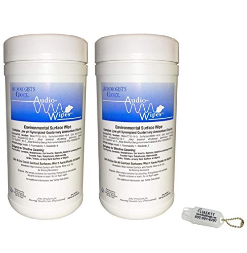 - 2 Pack Bonus Bundle! Audio-Wipes Hearing Aid Wipes - Large Canister (160 Wipes Per Canister) and Liberty Hearing Aid Battery Keychain