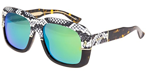 GUCCI 1157 Square Ayers Sunglasses Tortoise Green Mirrored Snake Skin GG1157S - Mirrored Gucci Sunglasses