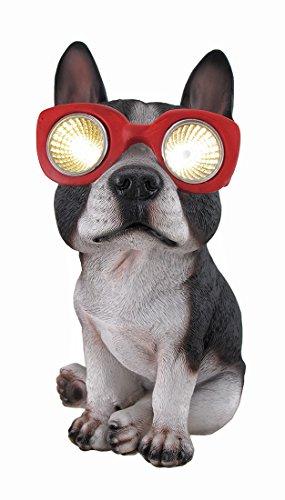 Boston Terrier Statues - Zeckos Boston Terrier Solar Eyes LED Accent Light Statue