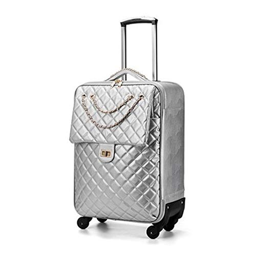 Nuofake 20/24 size PU Rolling Luggage Spinner brand Travel Suitcase fashion noble luggage Our suitcases (Color : Silver…