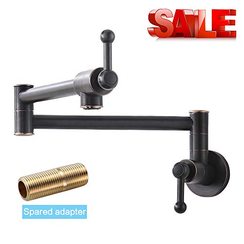 (Bokaiya Pot Filler Commercial Restaurant Folding Stretchable Double Joint Swing Arm Wall Mount Oil Rubbed Bronze Pot Filler Faucet, Bronze Kitchen Faucet Wall Mount)
