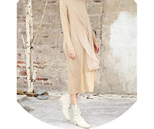 7 Plastic Connector Pole (Knitted Dresses Women Elegant Wool Loose Solid Patchwork Chiffon Winter Dress,Khaki Dress,L)