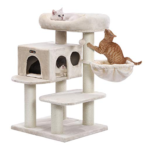 FEANDREA Cat Tree, Cat Tower with XXL Plush Perch, Basket Lounger Cat Condo with Adjustable Units, Cat Toys, Extra Thick Posts Completely Wrapped in Sisal, Beige UPCT01M