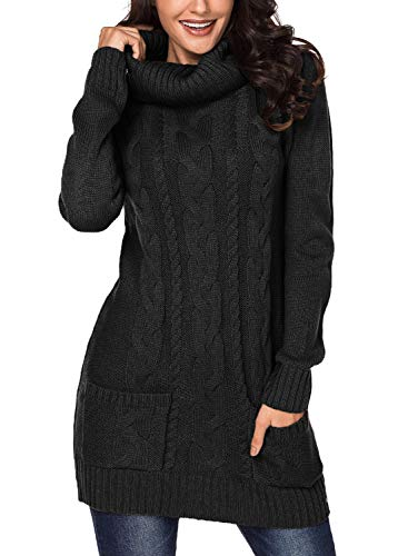 Azokoe 2018 Sweaters for Women 2018 Winter Casual Slim Fit Chunky Cowl Neck Pullover Cable Knit Sweater Mini Bodycon Dress Black Small