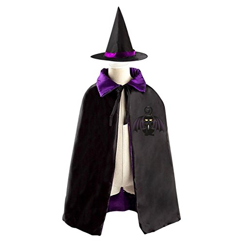 Black Cat Halloween Costume Childrens Wizard Witch Cloak Cape Robe and Hat for Boy Girl