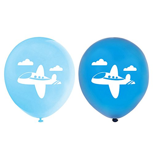 Airplane Balloons, 12inch (16pcs) Blue Plane Themed Baby Shower or Birthday Party Decorations Supplies]()