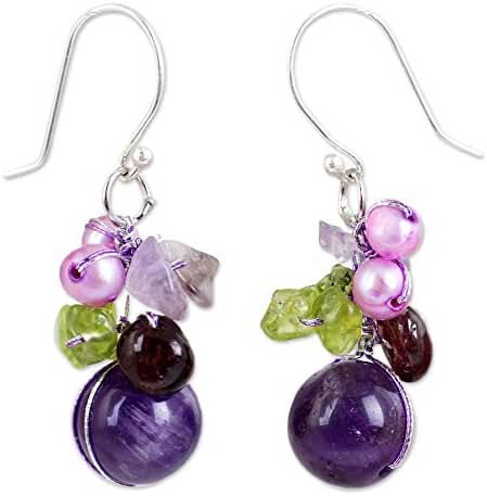 NOVICA Garnet and Amethyst Cluster Earrings with Cultured Freshwater Pearls, 'Bright Bouquet'
