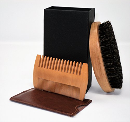 Beard Brush & Comb Kit for Men–Fantastic Logo-Free Men's Gift-Wood Comb & Leather Sleeve; Natural Boar Bristle Brush & Box for Grooming, Styling & Shaping Beard, Mustache, Goatee