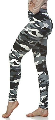 LMB Lush Moda Extra Soft Leggings with Designs High Yoga Waist - Variety of Prints - 757YF Black White Camo B5 ()