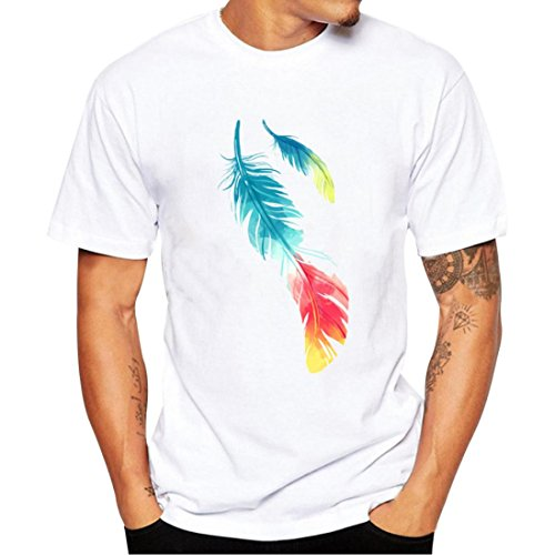 Kollmert Men's Animal Pattern Printing Tees Shirt Short Sleeve Blouse Basic T Shirt (S, White Feather)