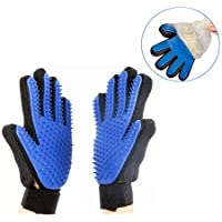 ☛Please Choose Prime☚ Pet Glove Hair Removal Q7S 2 in 1 Pet Glove Gentle Deshedding Brush Glove,Efficient Pet Hair Remover Mitt - Silicone Tips Massage Tool with Enhanced Five Finger Design - Perfect for Dogs & Cats