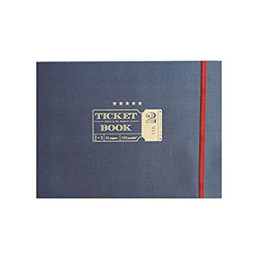 "Classy Ticket Stub Diary Ticket Book, Deco Sticker and notepads are included, Ticket Organizer Ticket Keepsake book Scrapbooking Scrapbook Photo Album, Hidden Wire Bound, 10""x7.5""x1.1"" (Navy)"