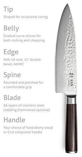 KAN Core Chef Knife 8-inch AUS-10 67 layers Damascus for aspiring home chefs (our Kickstarter chef knife) (Hammered AUS-10 Blade, Ebony wood handle) by KAN (Image #5)