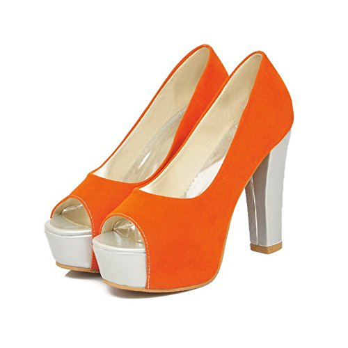 US Heel Peep M Chunky Suede AmoonyFashion Platform 5 High Orange Imitated Heels Open Frosted Womens 9 Toes B Solid Pumps wUxEX4Hx