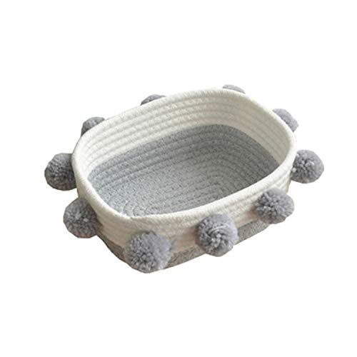 (fantasticlife06 Cotton Rope Dirty Clothes Storage Basket With Ball Organizer For Kids Toy Snack Magazine Nursery Hamper Home Accessories,Grey S,See Detail)