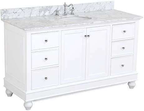 Attrayant Bella 60 Inch Single Sink Bathroom Vanity (Carrara/White): Includes White  Cabinet With Dovetailed, Soft Close Drawers, Authentic Italian Carrara  Marble ...