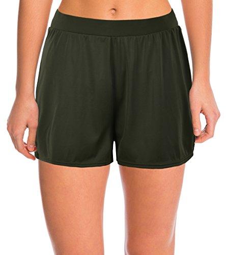 Septangle Damen Einfarbig Schwimmshorts Große Größen Strand Shorts Bikinihose