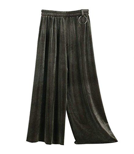 Pantaloni Larghi Donna Primaverile Autunno Velluto Pantalone Elegante Vintage Moda Tempo Libero Pantaloni Grazioso Monocromo High Waist Colpo Pantaloni Silber