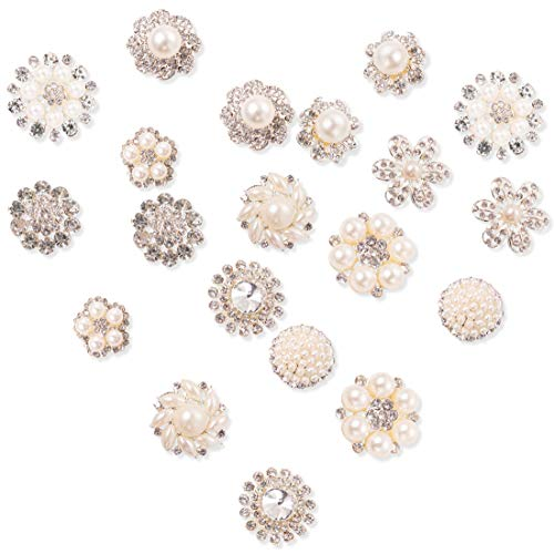 20Pcs Crystal Rhinestones Pearl Buttons, Rhinestone Flower Embellishments Button Flatback Pearl Beads DIY for Jewelry Making, Wedding DIY Supplies, Clothes, Bags, Shoes and Sew Craft Projects