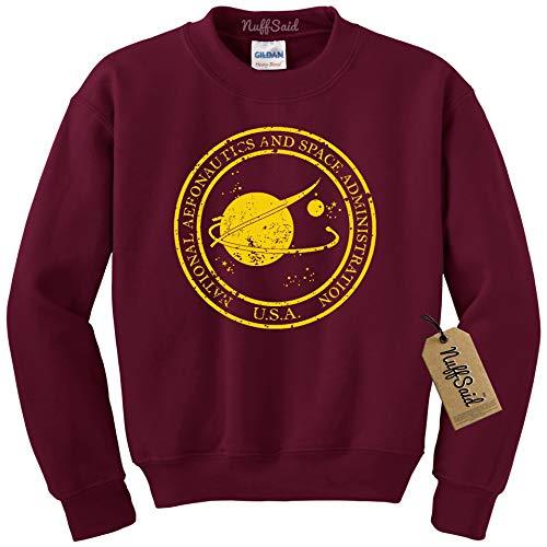 NuffSaid Vintage NASA Aeronautics Seal Crewneck Sweatshirt Sweater Pullover - Unisex Crew (Large, Maroon w/Yellow Ink)