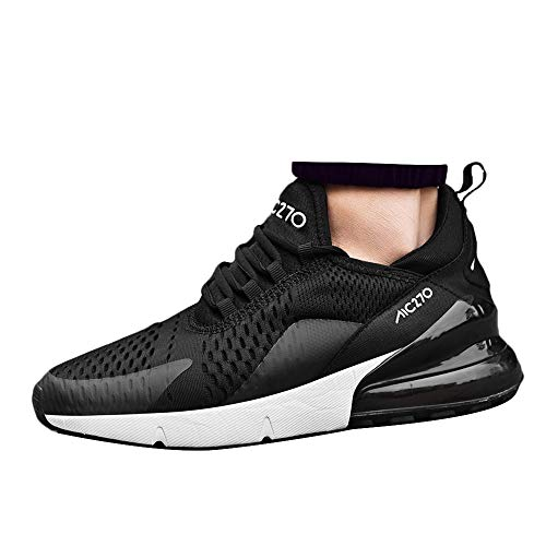 Zhang Qing Bo Men's Breathable Fashion Walking Sneakers Lightweight Athletic Running Shoes Black and White