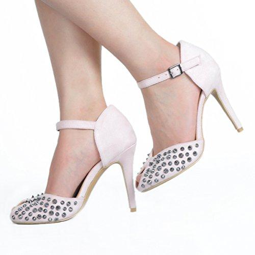 Kolnoo Damen Handgefertigte High Heel Nieten Spikes Buckle Strap Sommer Sandalen